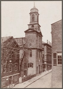 Boston, Massachusetts. Chauncey Street from Avon Place to Summer Street, showing (left to right) Chauncy Hall School, First Church, Buckley's Minstrels and post office