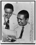 [African American students Jefferson Thomas (l) and Ernest Green reading newspaper relating to their efforts to attend Central High School in Little Rock, Arkansas]