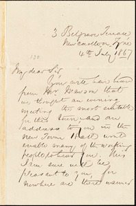 Letter from J.H. Rutherford, Newcastle on Tyne, [England], to William Lloyd Garrison, 1867 July 4th