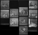 Set of negatives by Clinton Wright including Doolittle soap box racers builders, fashion show at Kit Carson, Youth Congress, Reno, and Cosmetiques campaign rally, 1970