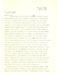 Letter from Mrs. Oscar Arnette to W. E. B. Du Bois
