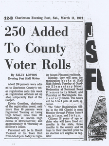 """250 Added to County Voter Rolls"""