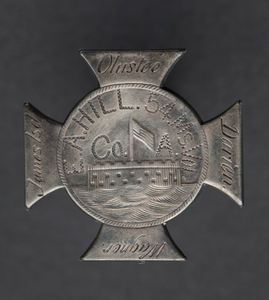 Silver badge for Alexander Hill of the 54th Massachusetts Infantry