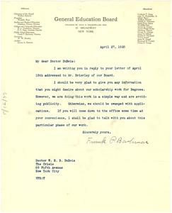 Letter from General Education Board to W. E. B. Du Bois