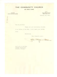 Letter from John Haynes Holmes