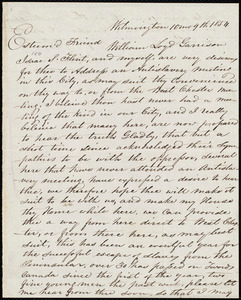 Letter from Thomas Garrett, Wilmington, [Delaware], to William Lloyd Garrison, 10 mo[nth] 9th [day] 1854