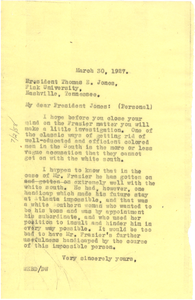 Letter from W. E. B. Du Bois to Thomas E. Jones