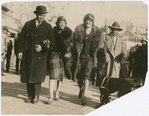 Candid shot of actors Flournoy E. Miller, Josephine Hall, Evelyn Preer and Aubrey Lyles, walking along the Boardwalk, in Atlantic City, New Jersey, circa 1920s