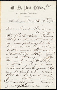 Letter from Richard Plumer, Newburyport, Mass., to William Lloyd Garrison, Nov[ember] 11th 1875