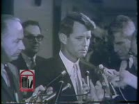 WSB-TV newsfilm clip of attorney general Robert Kennedy reporting on the racial conflict situation in Birmingham, Alabama, 1963 May 13