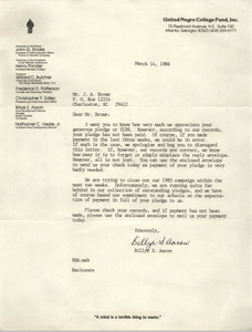 Letter from Billye S. Aaron to J. Arthur Brown, March 14, 1986