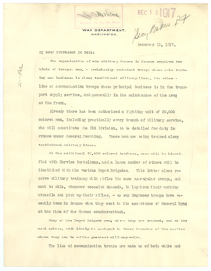 Letter from Secretary of War to W. E. B. Du Bois