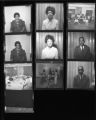 Set of negatives by Clinton Wright including a party at Doolittle, Roseann Katt in a physical fitness program, Mrs. Raggsdale, Joe Haynes' party, Judo class, Arthur Ashe at Pughsleys, Mother Porter, and couches, 1968