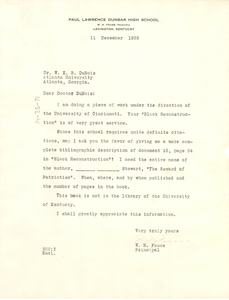 Letter from W. H. Fouse to W. E. B. Du Bois
