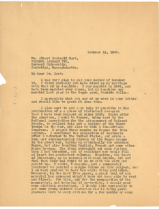 Letter from W. E. B. Du Bois to Albert Bushnell Hart
