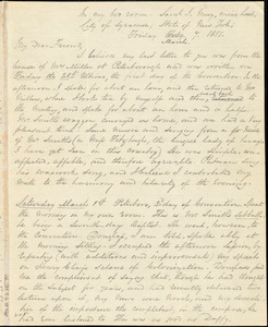 Letter from George Thompson, Syracuse, [New York], to Anne Warren Weston, 1851 March 7