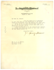 Letter from John Henry Adams to W. E. B. Du Bois