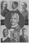 (1) Rev. H. H. Proctor, D. D., Atlanta, Ga., Recording Secretary; (2) Rev. J. W. E. Bowen, D. D., Atlanta, Ga, 4th Vice-Prest; (3) Prof. John R. Hawkins., A. M., Kittrell, N. C., Financial Sec'y; (4) Rev. S. N. Vass, D. D., Raleigh, N. C., Statistical Sec'y; (5) Rev. Bishop A. Walters, D. D., Jersey City, N. J., 1st Vice Pres.; (6) Rev. Bishop R. S. Williams, D. D., Augusta, Ga., 2nd Vice-Prest; (7) Rev. D. I. Sanders, D. D., Charlotte, N. C., 3rd Vice-Prest