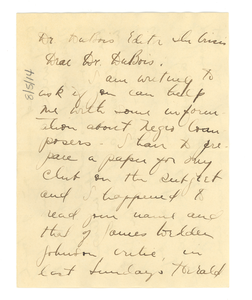 Letter from Juliet D. Bevin to W. E. B. Du Bois