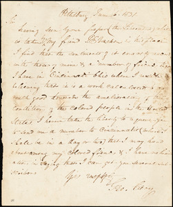 Thumbnail for Letter from George Cary, Pittsburg, to William Lloyd Garrison, 1831 June 6
