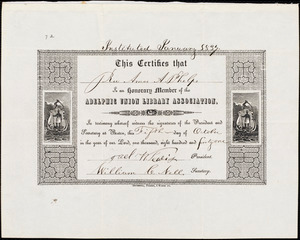 Certificate of honorary membership from Adelphic Union Library (Williams College), [Boston], to Amos Augustus Phelps, fifth day of October in the year of... one thousand, eight hundred and forty one