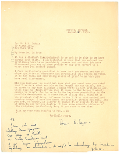 Letter from Helen Bryan to W. E. B. Du Bois