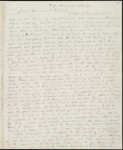 Incomplete letter from Anne Warren Weston, 39 Summer Street, [Boston], to Caroline Weston and Deborah Weston, [1845?]