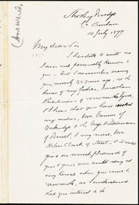 Letter from I. Priestman, Shotley Bridge, [England], to William Lloyd Garrison, 10 July 1877