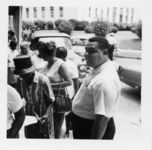 Mississippi State Sovereignty Commission photograph of Lawrence Guyot standing with a group of African African demonstrators during a demonstration for welfare rights, Jackson, Mississippi 1960s