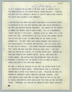 Remarks by Barbara Jordan at the Grand Opening of the Almeda Medical Square Building, July 13, 1975 Texas Senate Papers