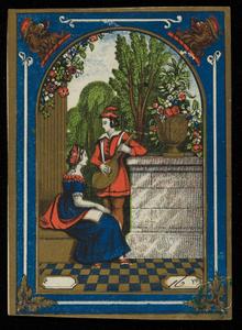 Label for unidentified cotton manufacturer, minstrel serenading woman, location unknown, undated