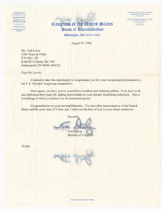 Letter from US Representative Tom DeLay to Carl Lewis