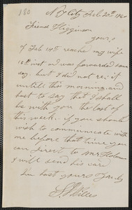 Stephen J. Willis autograph letter signed to Thomas Wentworth Higginson, N.Y., 20 February 1860