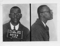 Mississippi State Sovereignty Commission photograph of Joseph Jackson, Jr. following his arrest for his participation in a sit-in at a library in Jackson, Mississippi, 1961 March 27