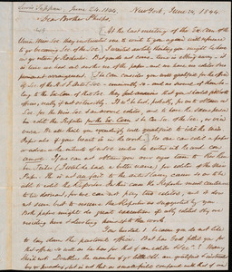 Letter from Lewis Tappan, New York, to Amos Augustus Phelps, 1844 June 24