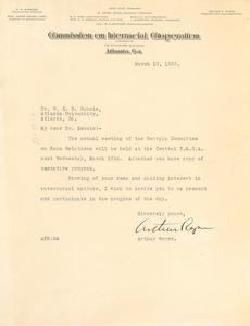 Letter from The Commission on Interracial Cooperation to W. E. B. Du Bois