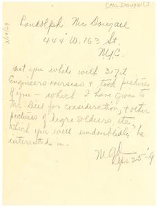 Letter from Randolph McDougall to W. E. B. Du Bois