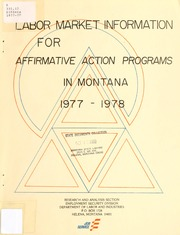 Labor market information for affirmative action programs in Montana, 1977-1978, 1977-78