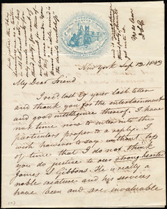 Letter from David Lee Child, New York, to Maria Weston Chapman, Sep. 13, 1843