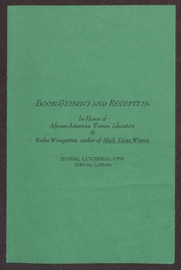Book-Signing and Reception in Honor of African American Women Educators San Antonio Chapter of Links Records Collected Material for Scrapbook 1995-1996