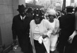 Mahalia Jackson and others outside Ebenezer Baptist Church, probably about to enter the building for Martin Luther King, Jr.'s funeral service.