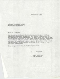 Letter from Alfreda Gourdine to Dorothy Rathmann, February 7, 1978
