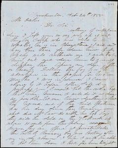 A. J. McElveen, Sumterville, S.C., autograph letter signed to Ziba B. Oakes, 24 February 1855