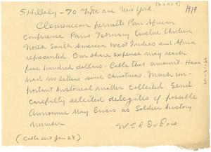 Letter from W. E. B. Du Bois to John R. Shillady
