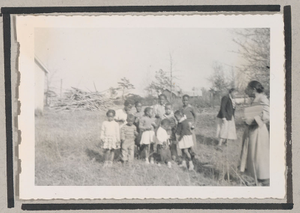 Photograph of a group of African American children in a yard, Clarkesville, Habersham County, Georgia, 1950