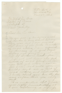 Letter from Mrs. P. F. Taylor to W. E. B. Du Bois