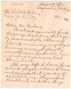 Letter from Elsa L. Widmayer to W. E. B. Du Bois