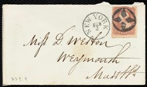 Letter from Richard Warren Weston, 64 South St[reet], [New York], to Deborah Weston, Feb'y 2, 1865