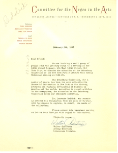 Circular letter from Committee for the Negro in the Arts to W. E. B. Du Bois