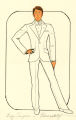 Costume design drawing, performer in a white tuxedo, Las Vegas, June 5, 1980